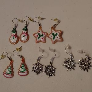 5 pair christmas earring sets
